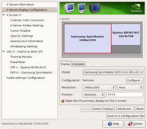 nvidia-settings ecran 22 pouces