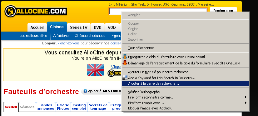 ajouter à la barre de recherhce add to search bar