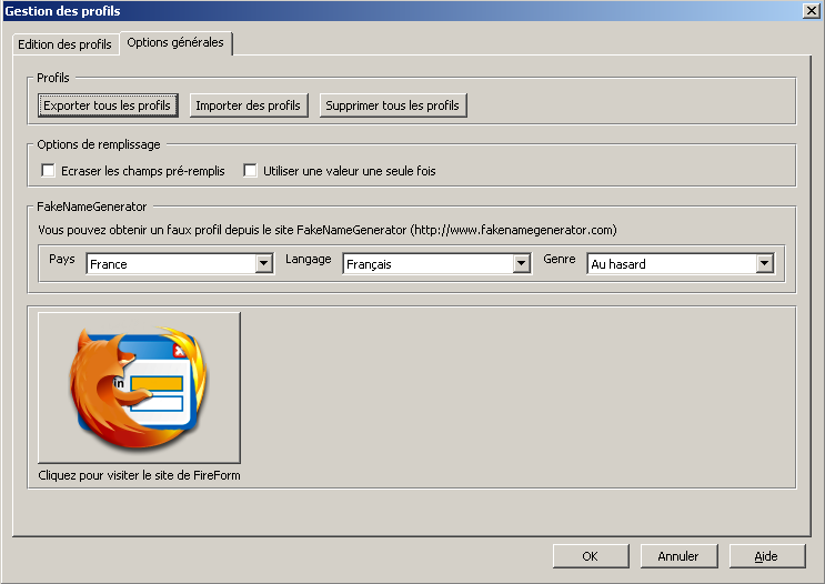 Fireform extension Firefox Options generales