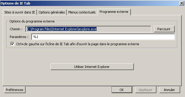 IE Tab Programme externe