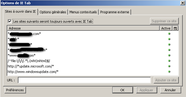 IE Tab sites à ouvrir