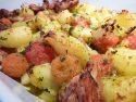 Poulet rôti aux pommes de terre et tomates cerises