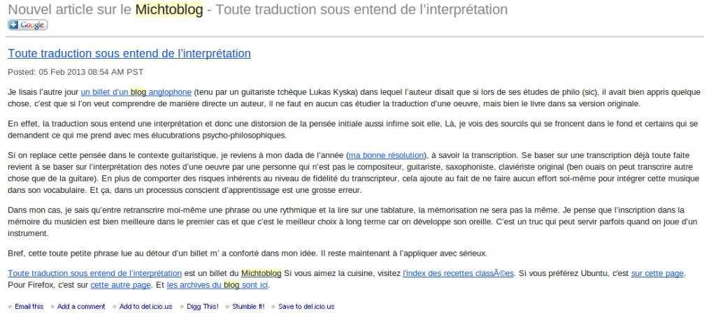 Abonnement Michtoblog email