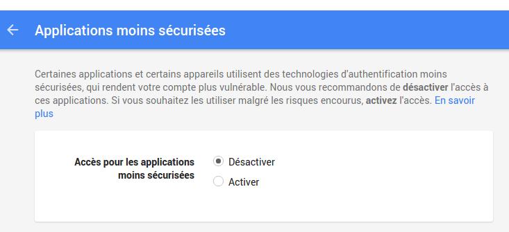 application moins sécurisée compte Google