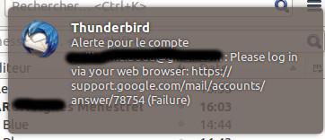 gmail pas autorisé sur Thunderbird